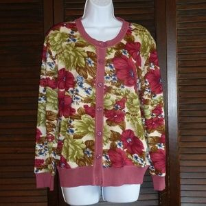Sweaters - Floral Soft Cardigan, Pink Green, Buttons, M